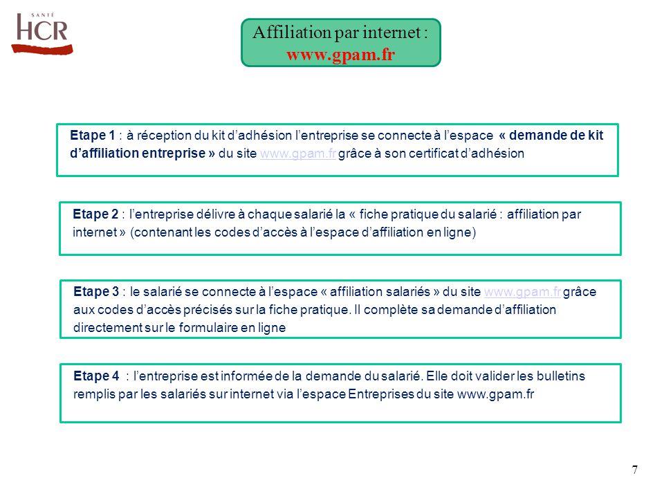 Etape 2 : l'entreprise délivre à chaque salarié la « fiche pratique du salarié : affiliation par internet » (contenant les codes d'accès à l'espace d'