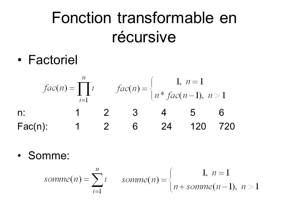 Fonction transformable en récursive Factoriel n: 123456 Fac(n):12624120720 Somme:
