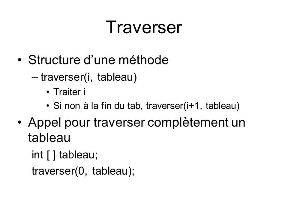 Traverser Structure d'une méthode –traverser(i, tableau) Traiter i Si non à la fin du tab, traverser(i+1, tableau) Appel pour traverser complètement un tableau int [ ] tableau; traverser(0, tableau);