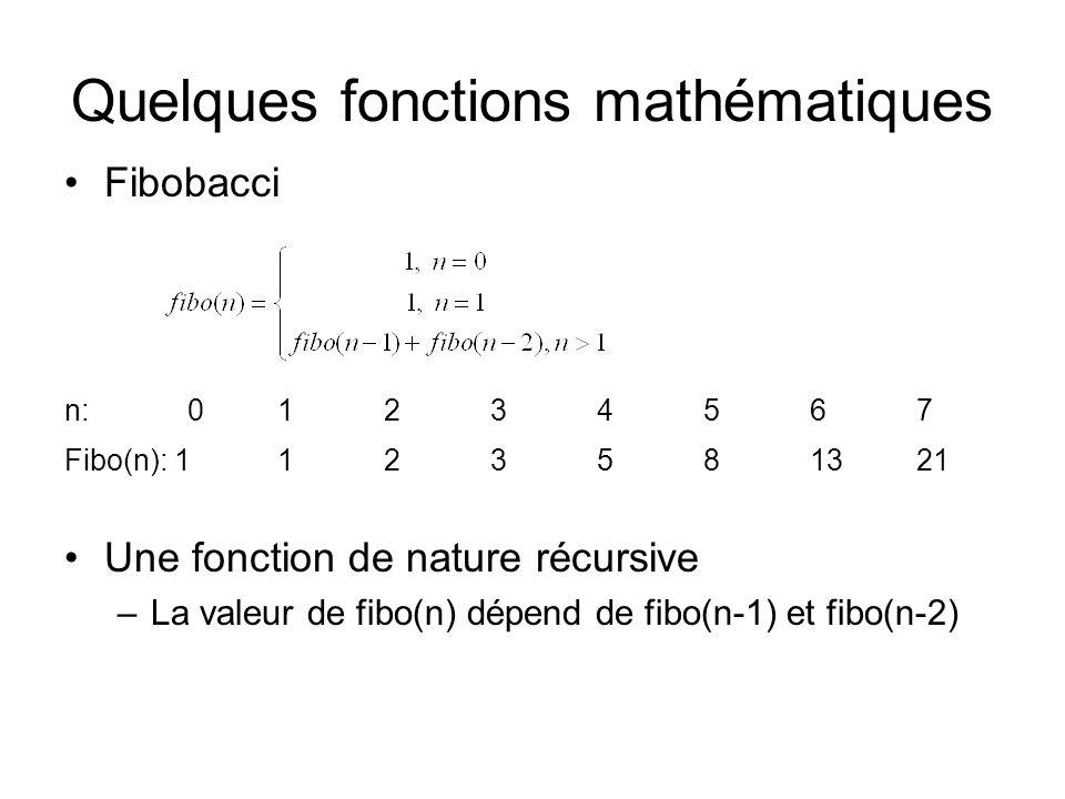 Quelques fonctions mathématiques Fibobacci n: 01234567 Fibo(n): 1123581321 Une fonction de nature récursive –La valeur de fibo(n) dépend de fibo(n-1) et fibo(n-2)