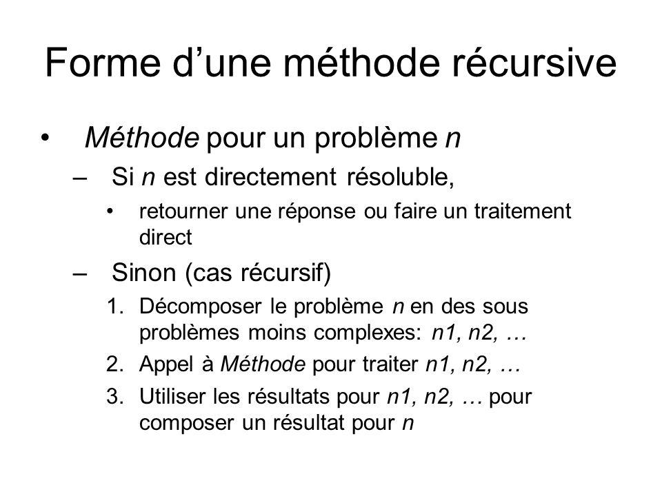 Forme d'une méthode récursive Méthode pour un problème n –Si n est directement résoluble, retourner une réponse ou faire un traitement direct –Sinon (cas récursif) 1.Décomposer le problème n en des sous problèmes moins complexes: n1, n2, … 2.Appel à Méthode pour traiter n1, n2, … 3.Utiliser les résultats pour n1, n2, … pour composer un résultat pour n
