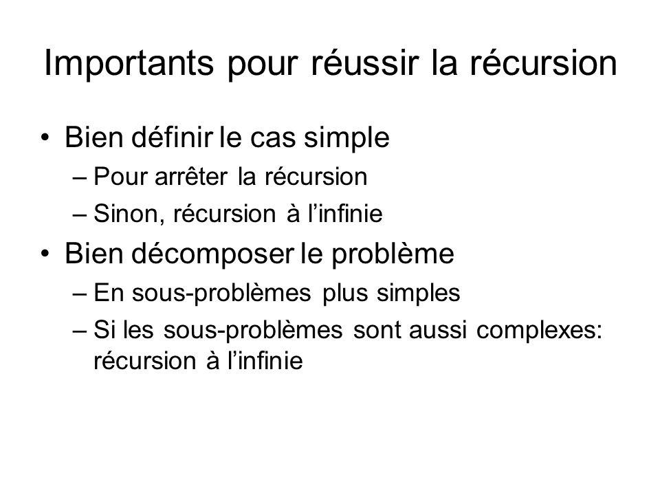 Importants pour réussir la récursion Bien définir le cas simple –Pour arrêter la récursion –Sinon, récursion à l'infinie Bien décomposer le problème –
