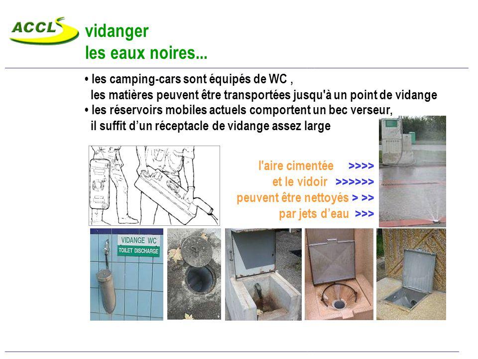 vidanger les eaux grises… eaux savonneuses de toilette et de vaisselle stockées dans des réservoirs sous le plancher du camping-car vidange par des robinets, vannes ou trappes ____________________________________________________________________________________________________________________________________________________________________________________________ < aire cimentée assez grande < pentes assez fortes < grille d écoulement au centre des solutions le plus souvent artisanales… ________________________________________________________________________________________________________________________________________________________________________________________________ Vidanger eaux grises