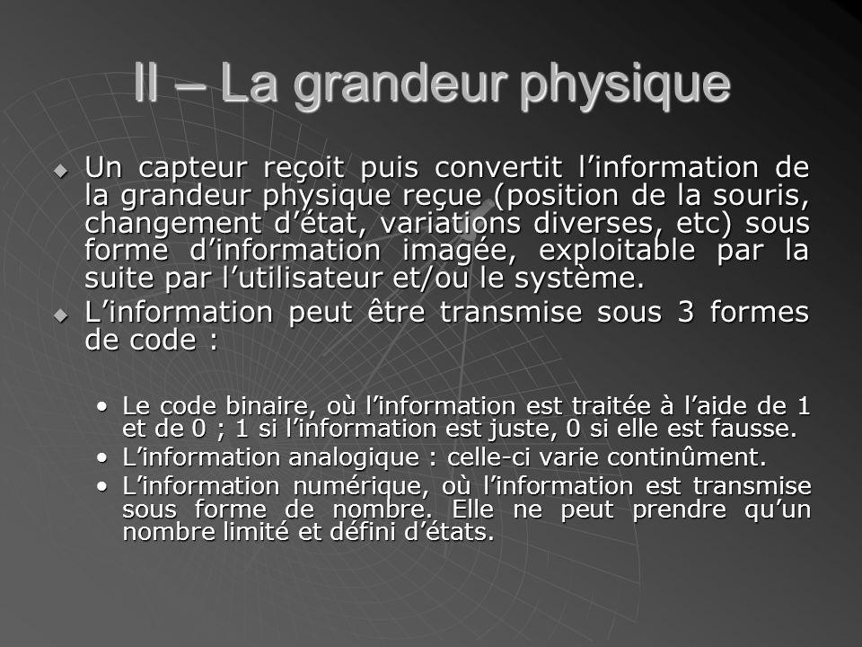 II – La grandeur physique  Un capteur reçoit puis convertit l'information de la grandeur physique reçue (position de la souris, changement d'état, va