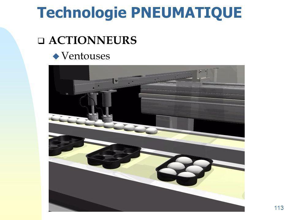114 Technologie PNEUMATIQUE  ACTIONNEURS u Ventouses