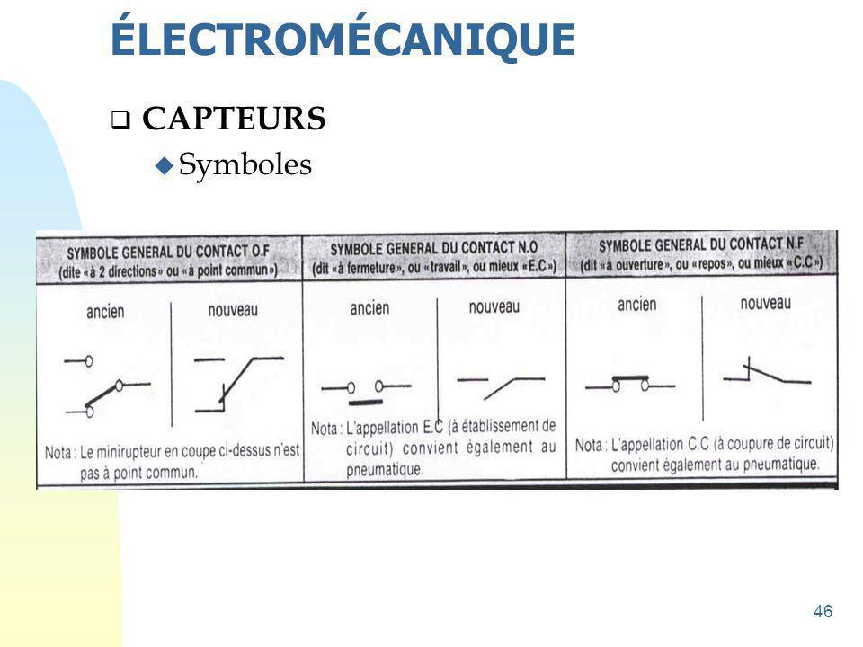 46  CAPTEURS u Symboles ÉLECTROMÉCANIQUE
