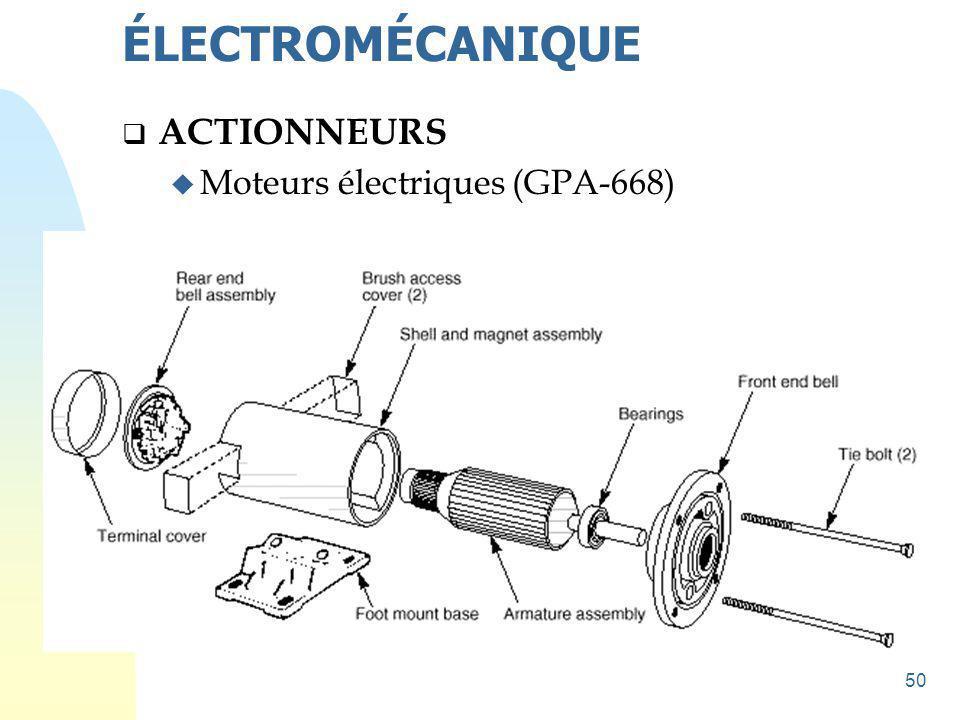 51  ACTIONNEURS u Schéma de principe de branchement de moteurs ÉLECTROMÉCANIQUE Lignes de source Sectionneur porte-fusibles Contacteur Relais thermique Moteur tri-phasé