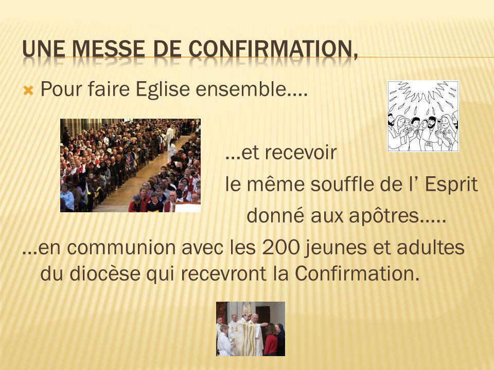  Pour faire Eglise ensemble…. …et recevoir le même souffle de l' Esprit donné aux apôtres…..