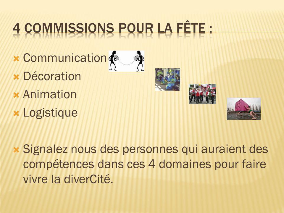 CCommunication DDécoration AAnimation LLogistique SSignalez nous des personnes qui auraient des compétences dans ces 4 domaines pour faire vivre la diverCité.