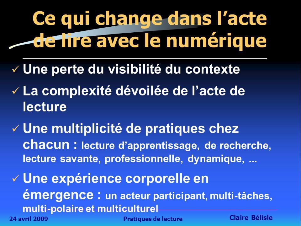 24 avril 2009Pratiques de lecture Claire Bélisle 18 Ce qui change dans l'acte de lire avec le numérique Une perte du visibilité du contexte La complexité dévoilée de l'acte de lecture Une multiplicité de pratiques chez chacun : lecture d'apprentissage, de recherche, lecture savante, professionnelle, dynamique,...