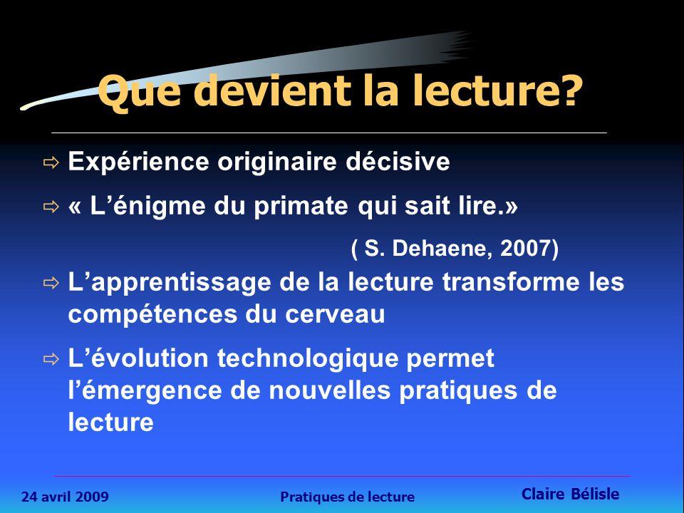 24 avril 2009Pratiques de lecture Claire Bélisle 6 Que devient la lecture.