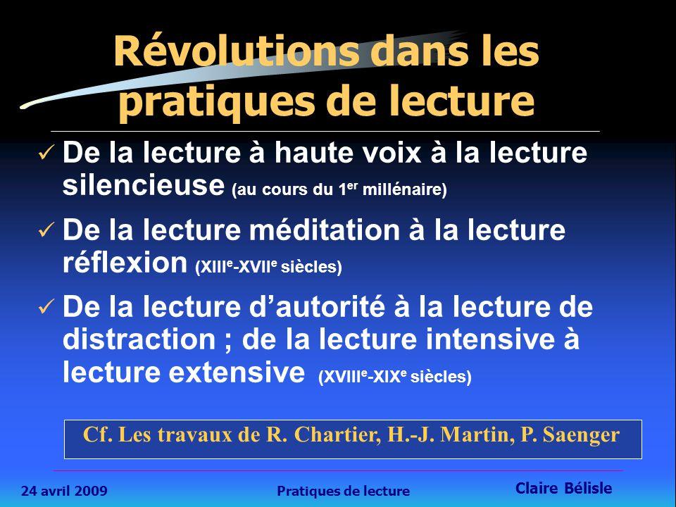 24 avril 2009Pratiques de lecture Claire Bélisle Formation TICE étudiants en lettres, université Lyon 2