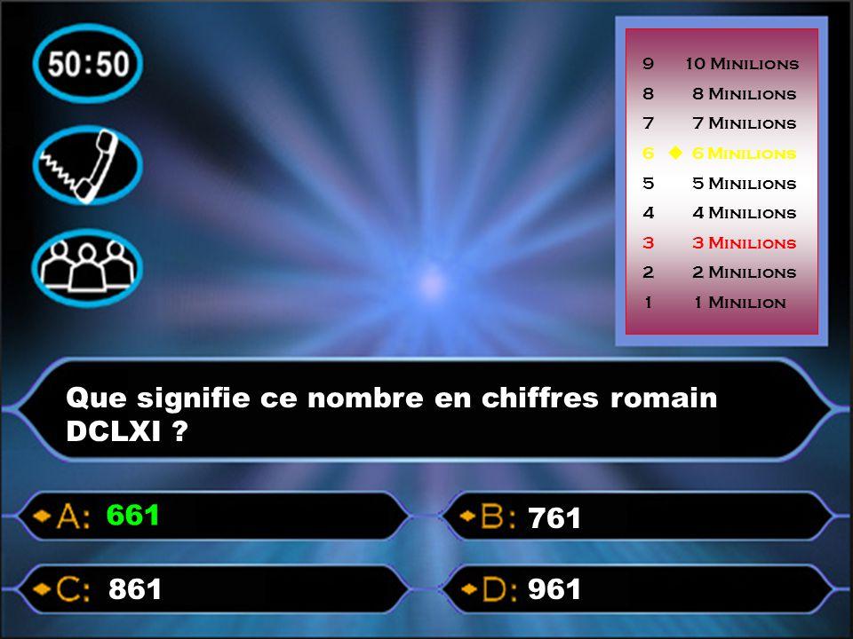 pQue signifie ce nombre en chiffres romain DCLXI ? 961861 761 661 9 10 Minilions 8 8 Minilions 7 7 Minilions 6  6 Minilions 5 5 Minilions 4 4 Minilio