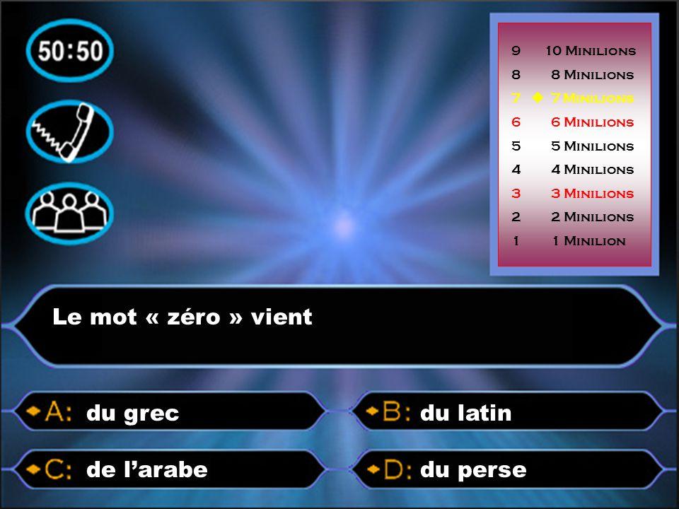 Le mot « zéro » vient du persede l'arabe du latindu grec 9 10 Minilions 8 8 Minilions 7  7 Minilions 6 6 Minilions 5 5 Minilions 4 4 Minilions 3 3 Mi