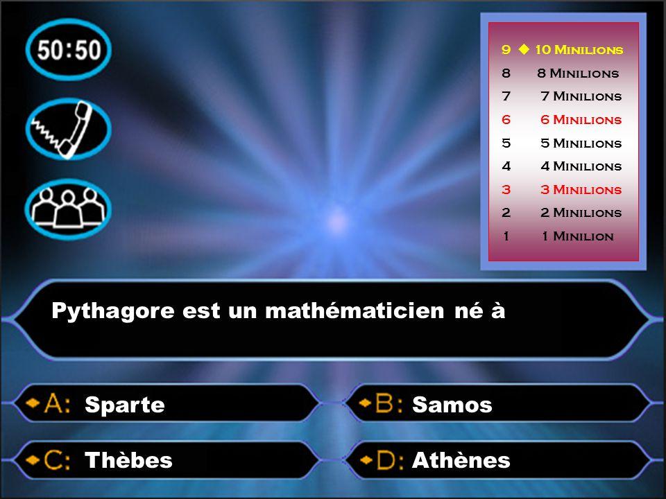Pythagore est un mathématicien né à AthènesThèbes SamosSparte 9  10 Minilions 8 8 Minilions 7 7 Minilions 6 6 Minilions 5 5 Minilions 4 4 Minilions 3