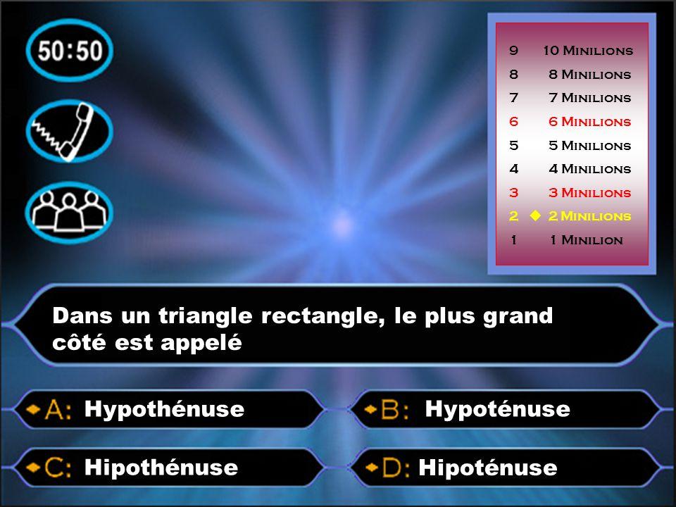 Dans un triangle rectangle, le plus grand côté est appelé Hipoténuse Hipothénuse Hypothénuse 9 10 Minilions 8 8 Minilions 7 7 Minilions 6 6 Minilions