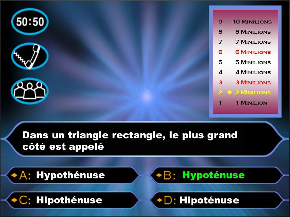 p p p pp Dans un triangle rectangle, le plus grand côté est appelé Hipoténuse Hipothénuse Hypothénuse 9 10 Minilions 8 8 Minilions 7 7 Minilions 6 6 M