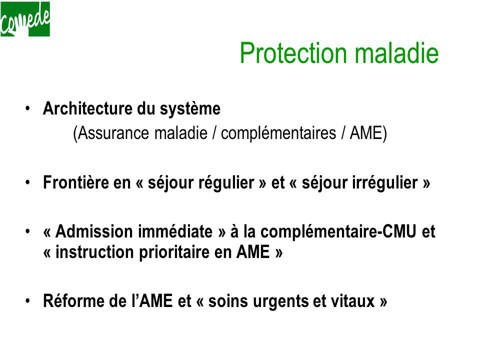 Protection maladie Architecture du système (Assurance maladie / complémentaires / AME) Frontière en « séjour régulier » et « séjour irrégulier » « Admission immédiate » à la complémentaire-CMU et « instruction prioritaire en AME » Réforme de l'AME et « soins urgents et vitaux »