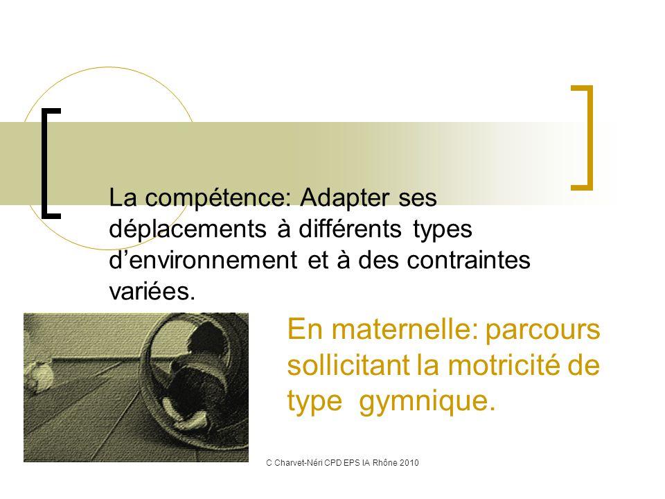 La compétence: Adapter ses déplacements à différents types d'environnement et à des contraintes variées.
