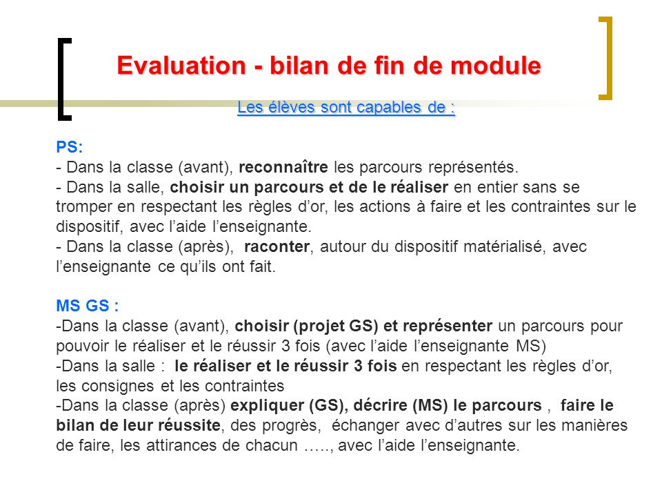 Evaluation - bilan de fin de module Les élèves sont capables de : PS: - Dans la classe (avant), reconnaître les parcours représentés.