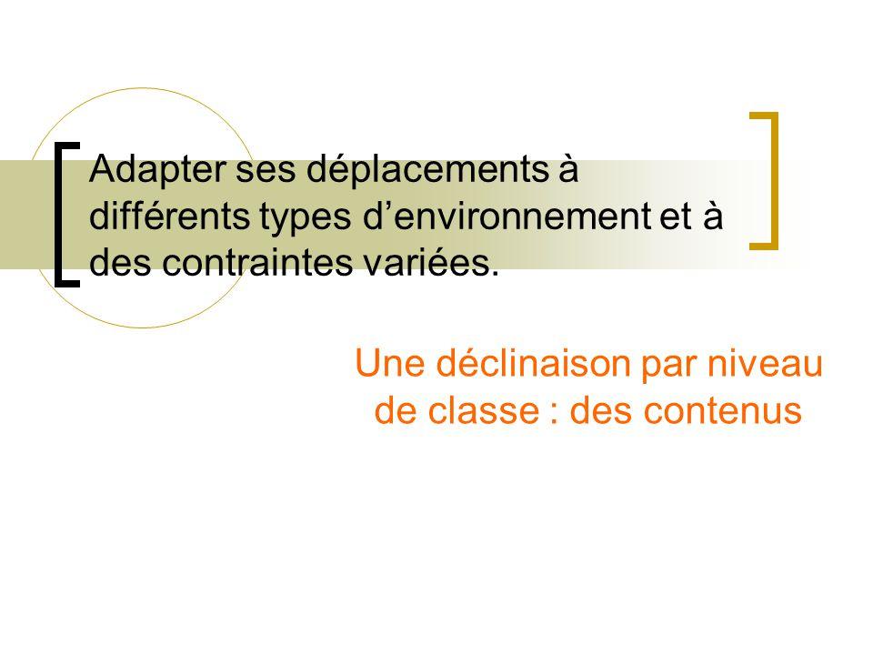Adapter ses déplacements à différents types d'environnement et à des contraintes variées.