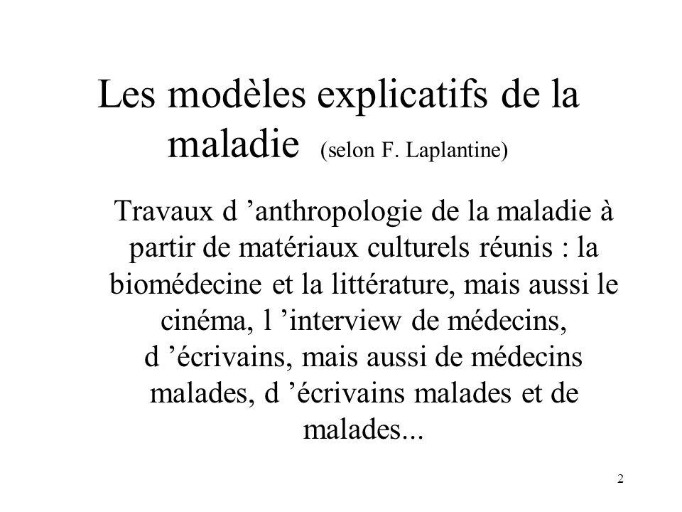 2 Les modèles explicatifs de la maladie (selon F. Laplantine) Travaux d 'anthropologie de la maladie à partir de matériaux culturels réunis : la biomé