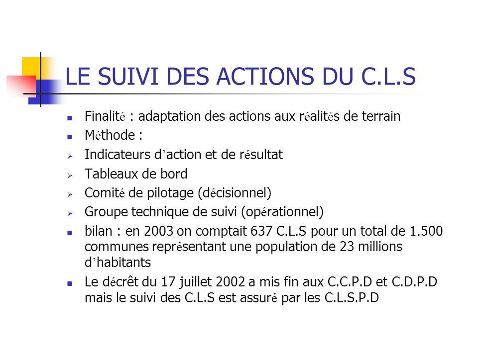 LE SUIVI DES ACTIONS DU C.L.S Finalit é : adaptation des actions aux r é alit é s de terrain M é thode :  Indicateurs d ' action et de r é sultat  T