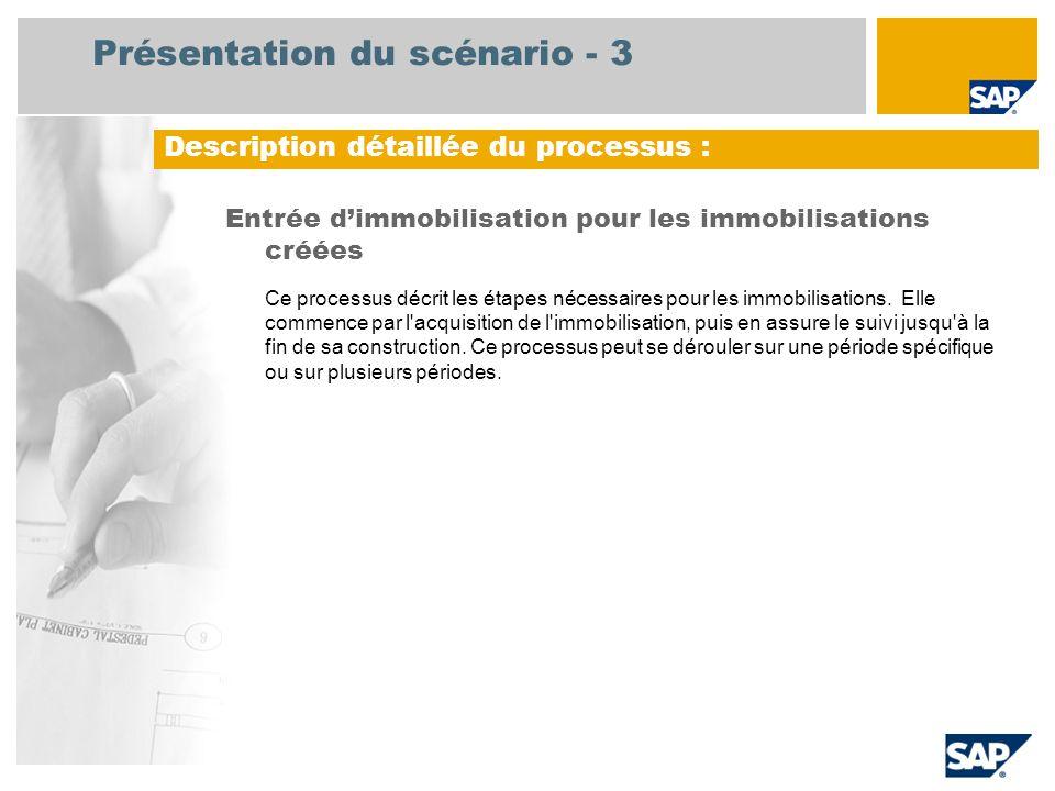 Présentation du scénario - 3 Entrée d'immobilisation pour les immobilisations créées Ce processus décrit les étapes nécessaires pour les immobilisatio