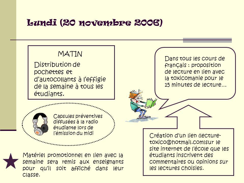 Lundi (20 novembre 2006) MATIN Distribution de pochettes et d'autocollants à l'effigie de la semaine à tous les étudiants.