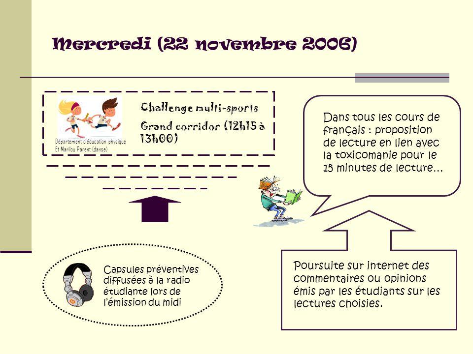 Mercredi (22 novembre 2006) Dans tous les cours de français : proposition de lecture en lien avec la toxicomanie pour le 15 minutes de lecture… Poursuite sur internet des commentaires ou opinions émis par les étudiants sur les lectures choisies.