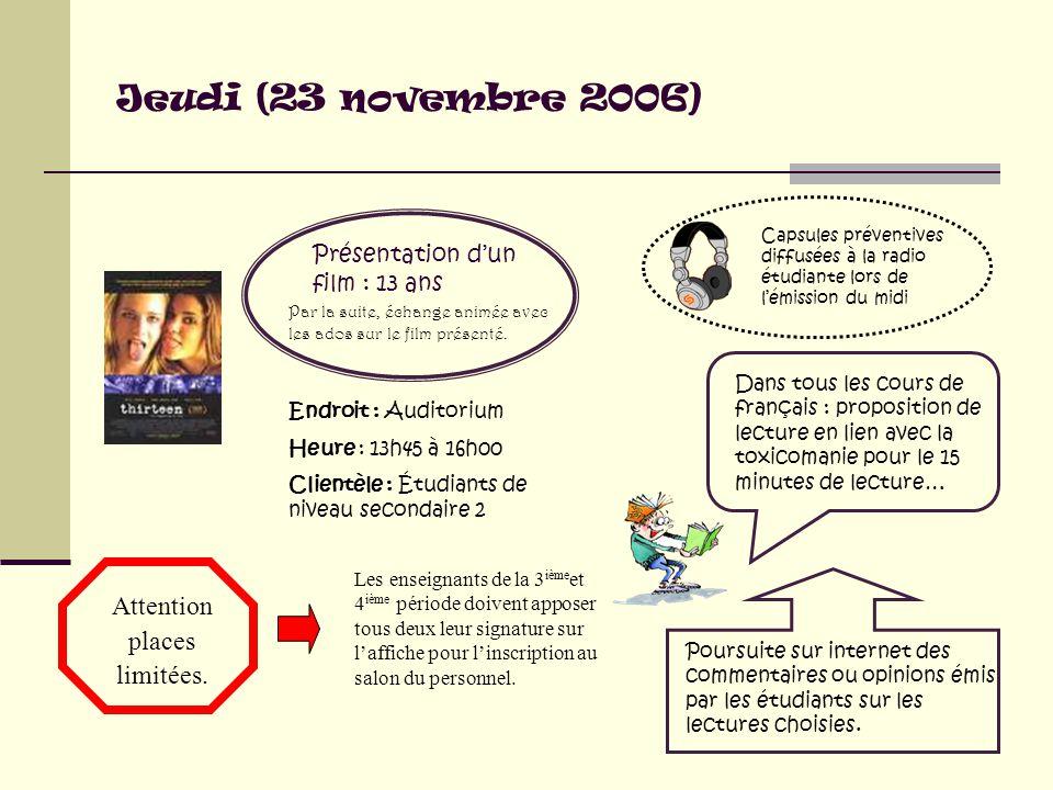 Jeudi (23 novembre 2006) Dans tous les cours de français : proposition de lecture en lien avec la toxicomanie pour le 15 minutes de lecture… Poursuite sur internet des commentaires ou opinions émis par les étudiants sur les lectures choisies.