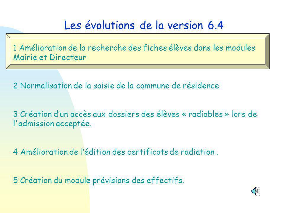 Les évolutions de la version 6.4 1 Modification des recherches de fiche - Module Mairie - Module Directeur 2 Normalisation de la saisie de la commune de résidence 3 Accès aux dossiers des élèves « radiables » lors de l admission 4 Édition des certificats de radiation.