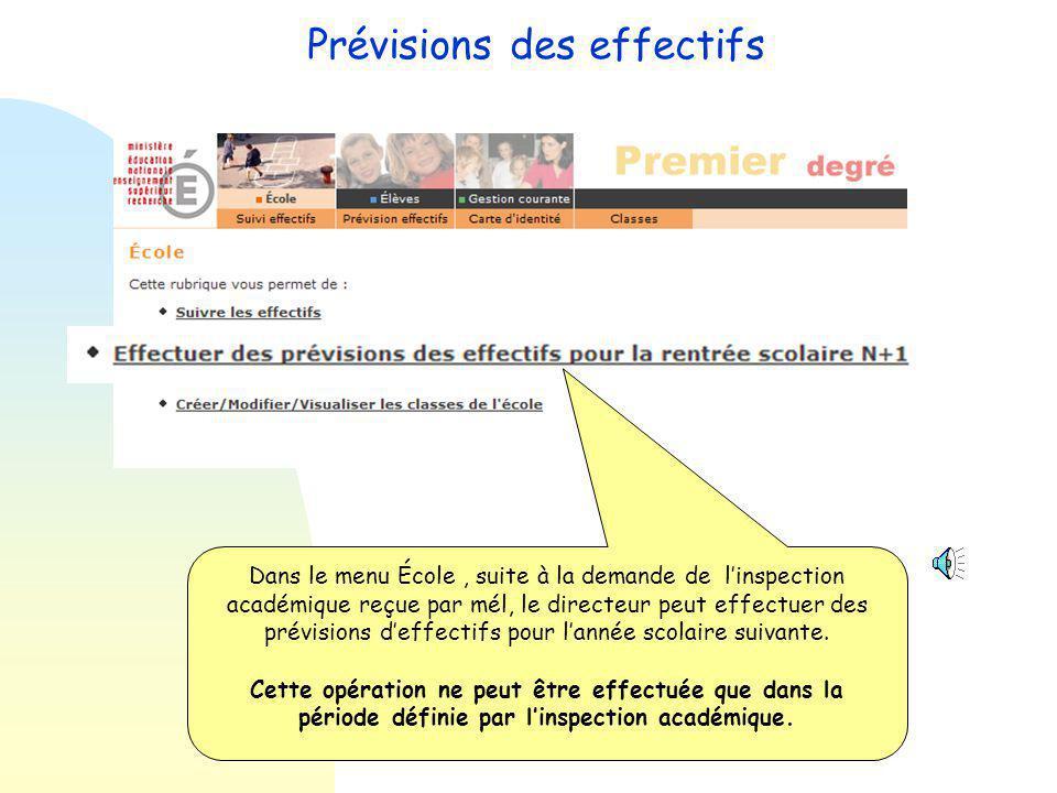 Prévisions des effectifs L'inspection académique lance une campagne de prévisions d'effectifs en en précisant une date de début et une date de fin.