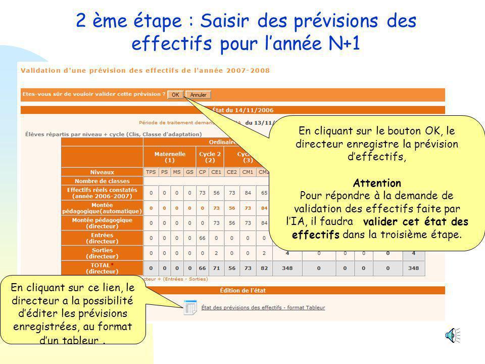 2 ème étape : Saisir des prévisions des effectifs pour l'année N+1 1- Le directeur corrige éventuellement les chiffres de la montée pédagogique automatique.