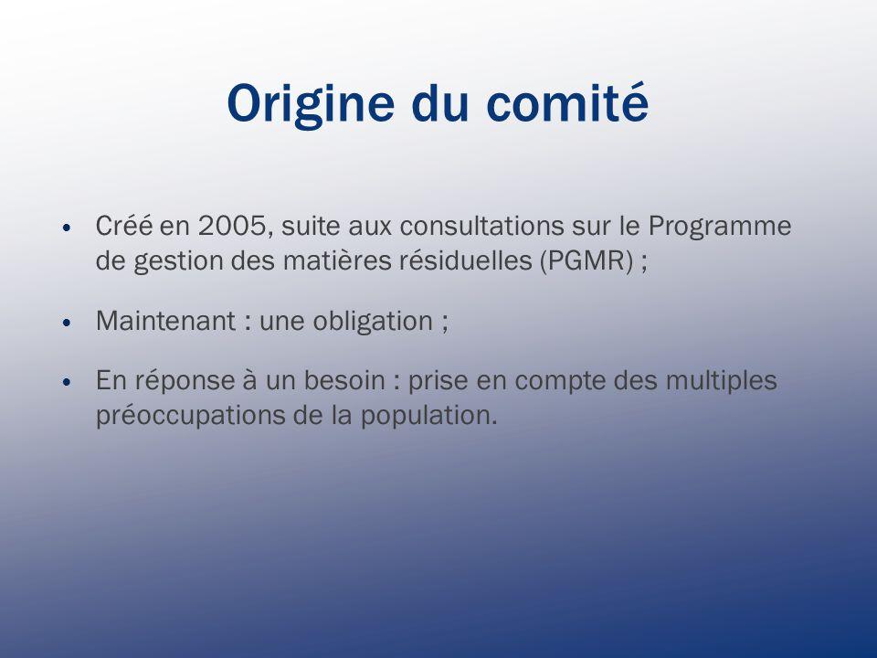 Origine du comité Créé en 2005, suite aux consultations sur le Programme de gestion des matières résiduelles (PGMR) ; Maintenant : une obligation ; En réponse à un besoin : prise en compte des multiples préoccupations de la population.