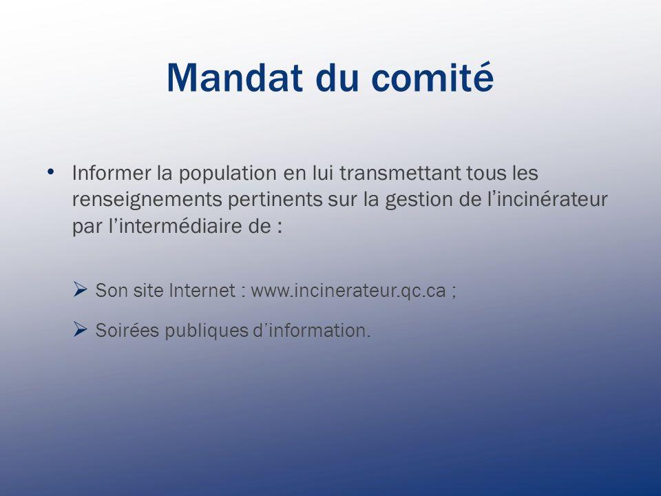 Mandat du comité Informer la population en lui transmettant tous les renseignements pertinents sur la gestion de l ' incinérateur par l'intermédiaire de :  Son site Internet : www.incinerateur.qc.ca ;  Soirées publiques d'information.
