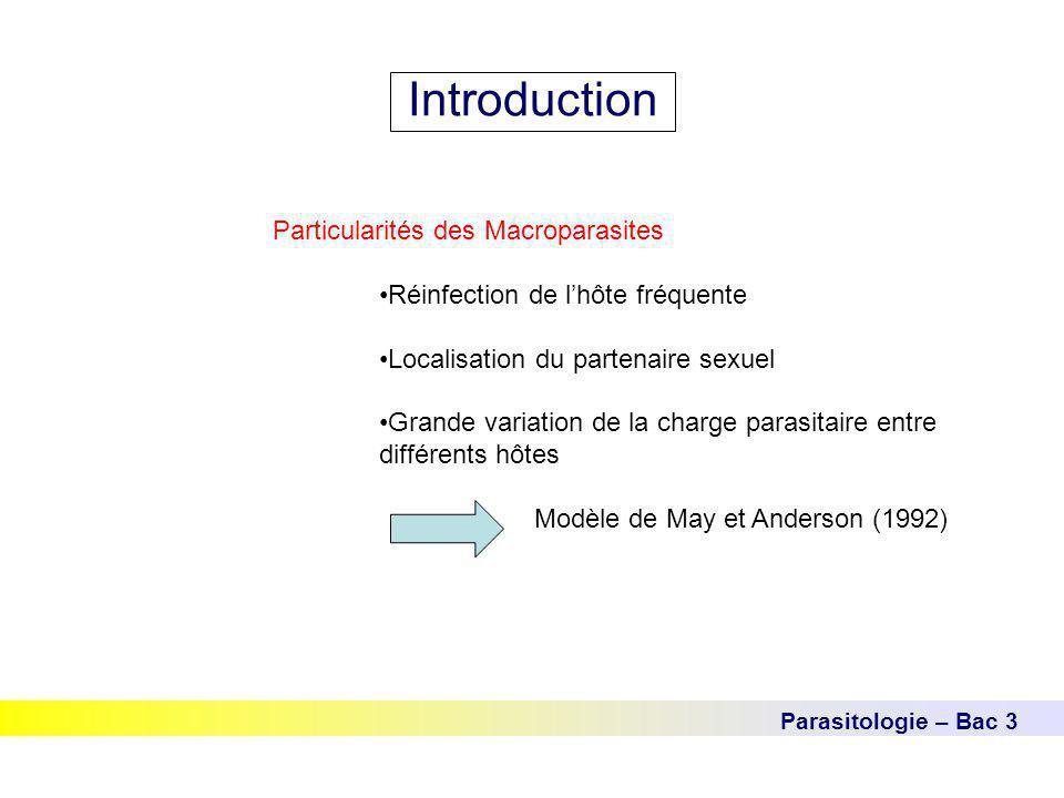 Parasitologie – Bac 3 Introduction Particularités des Macroparasites Réinfection de l'hôte fréquente Localisation du partenaire sexuel Grande variatio