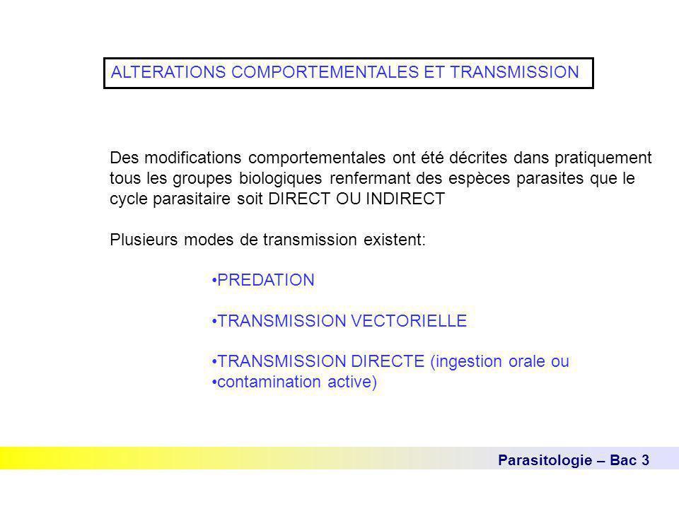 Parasitologie – Bac 3 ALTERATIONS COMPORTEMENTALES ET TRANSMISSION Des modifications comportementales ont été décrites dans pratiquement tous les grou