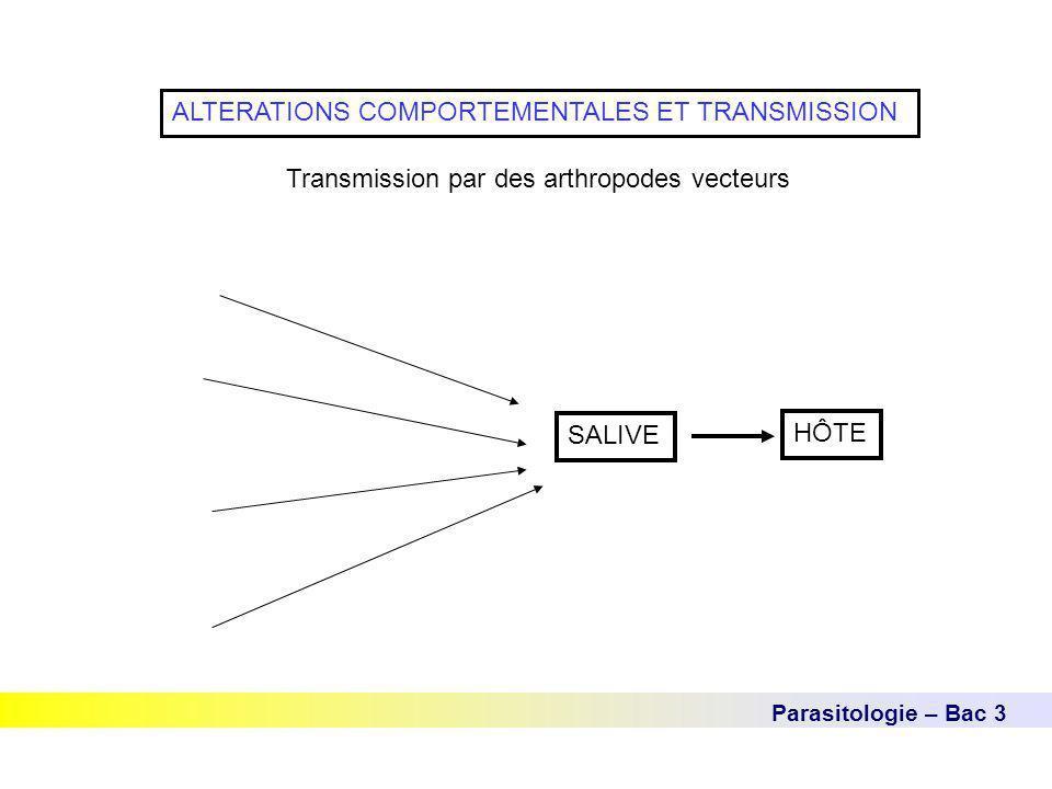 Parasitologie – Bac 3 ALTERATIONS COMPORTEMENTALES ET TRANSMISSION Transmission par des arthropodes vecteurs SALIVE HÔTE
