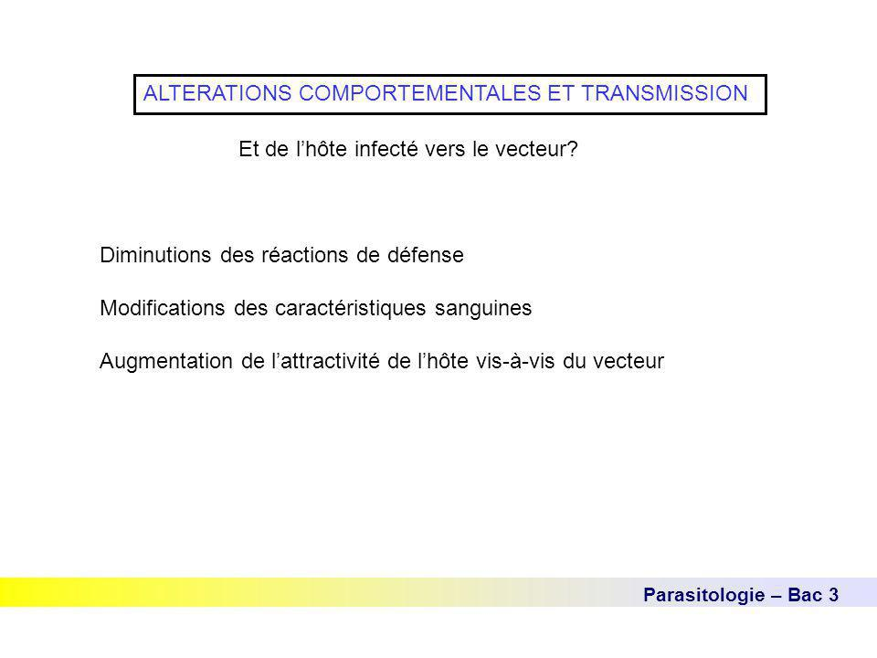 Parasitologie – Bac 3 ALTERATIONS COMPORTEMENTALES ET TRANSMISSION Et de l'hôte infecté vers le vecteur.