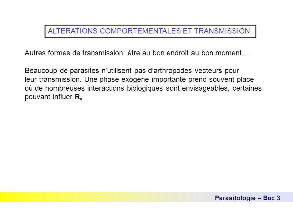 Parasitologie – Bac 3 ALTERATIONS COMPORTEMENTALES ET TRANSMISSION Autres formes de transmission: être au bon endroit au bon moment… Beaucoup de paras