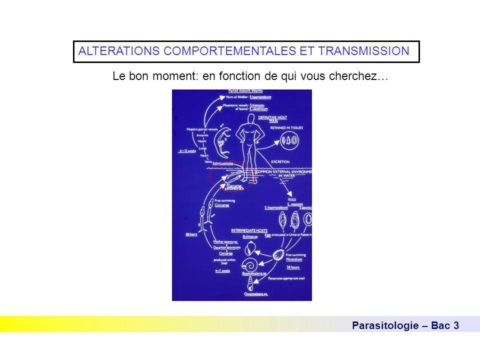 Parasitologie – Bac 3 ALTERATIONS COMPORTEMENTALES ET TRANSMISSION Le bon moment: en fonction de qui vous cherchez…