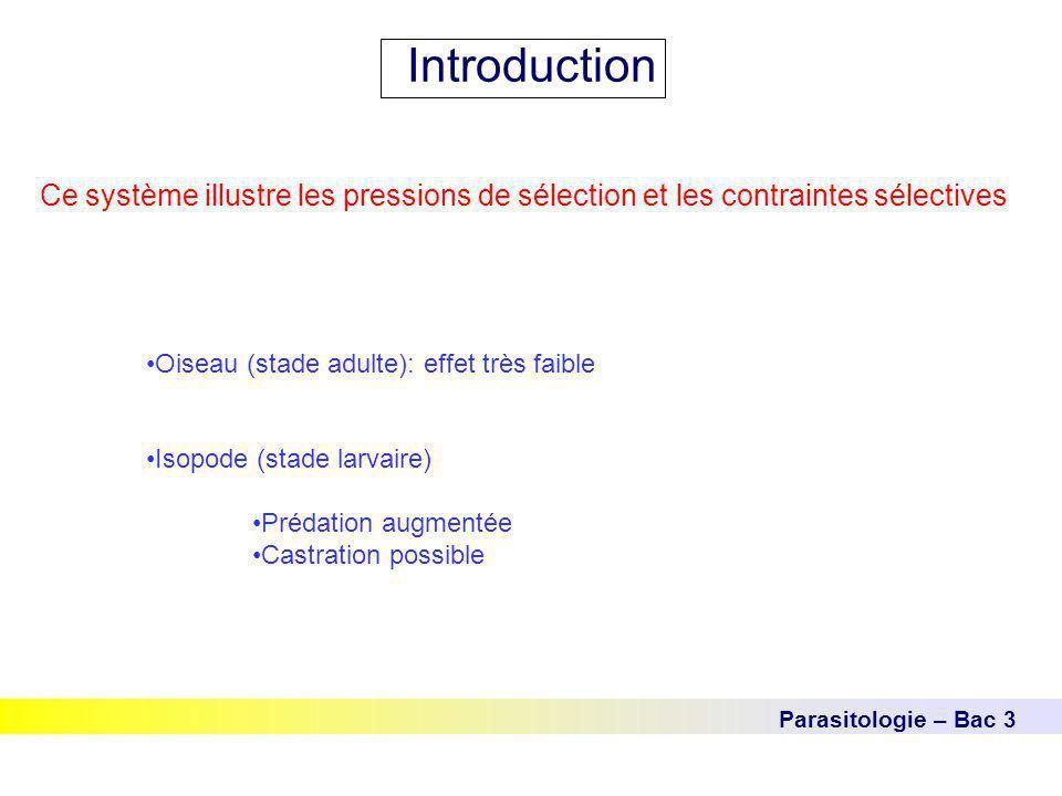 Parasitologie – Bac 3 Introduction Ce système illustre les pressions de sélection et les contraintes sélectives Oiseau (stade adulte): effet très faib