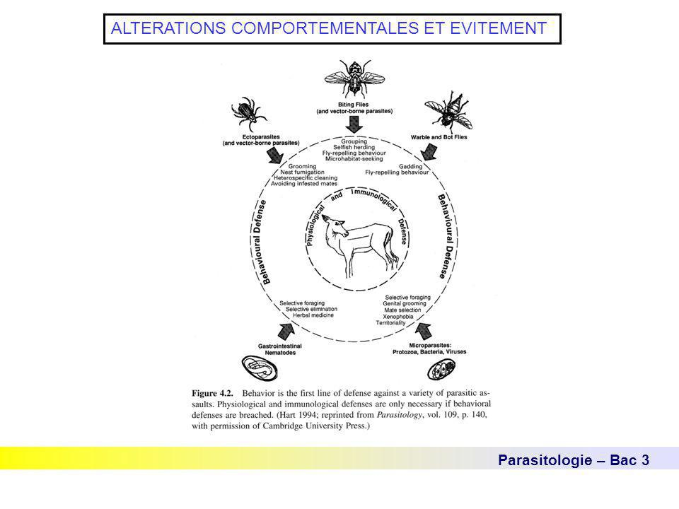 Parasitologie – Bac 3 ALTERATIONS COMPORTEMENTALES ET EVITEMENT