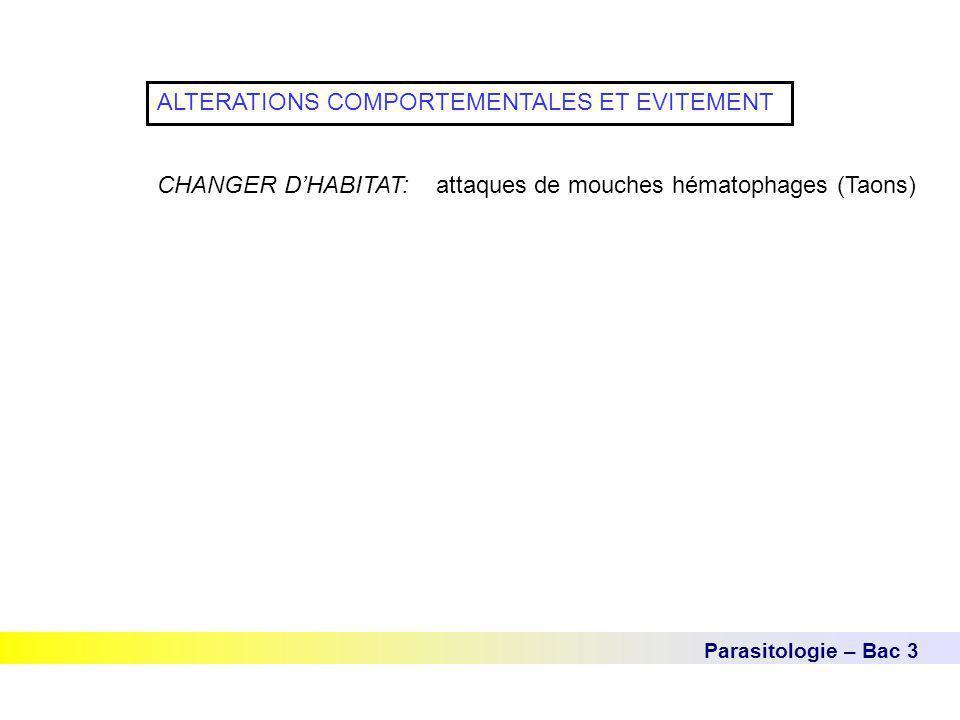 Parasitologie – Bac 3 ALTERATIONS COMPORTEMENTALES ET EVITEMENT CHANGER D'HABITAT: attaques de mouches hématophages (Taons)