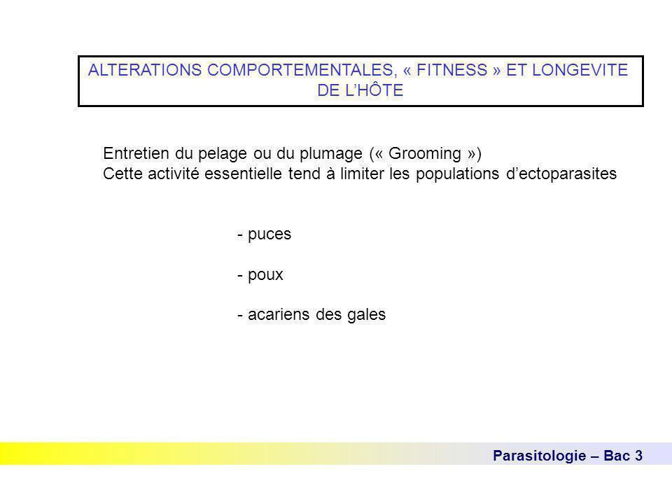 Parasitologie – Bac 3 ALTERATIONS COMPORTEMENTALES, « FITNESS » ET LONGEVITE DE L'HÔTE Entretien du pelage ou du plumage (« Grooming ») Cette activité