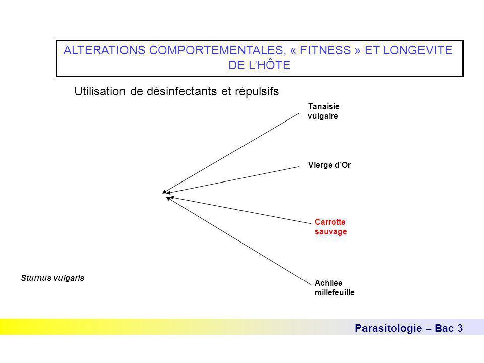 Parasitologie – Bac 3 ALTERATIONS COMPORTEMENTALES, « FITNESS » ET LONGEVITE DE L'HÔTE Utilisation de désinfectants et répulsifs Sturnus vulgaris Tana