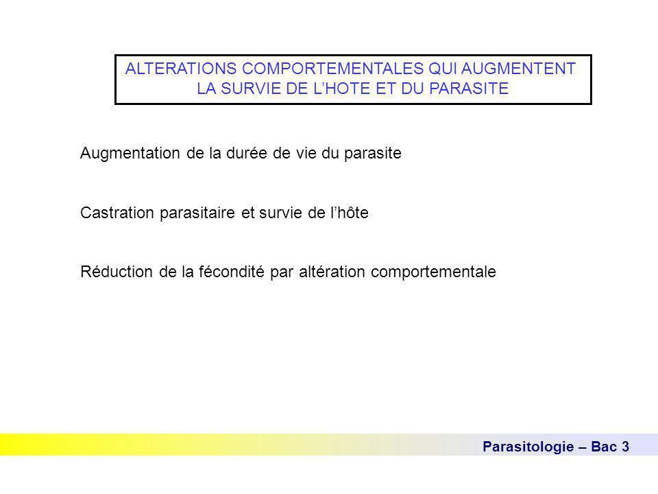 Parasitologie – Bac 3 ALTERATIONS COMPORTEMENTALES QUI AUGMENTENT LA SURVIE DE L'HOTE ET DU PARASITE Augmentation de la durée de vie du parasite Castr