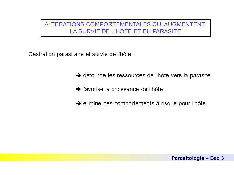 Parasitologie – Bac 3 ALTERATIONS COMPORTEMENTALES QUI AUGMENTENT LA SURVIE DE L'HOTE ET DU PARASITE Castration parasitaire et survie de l'hôte  déto