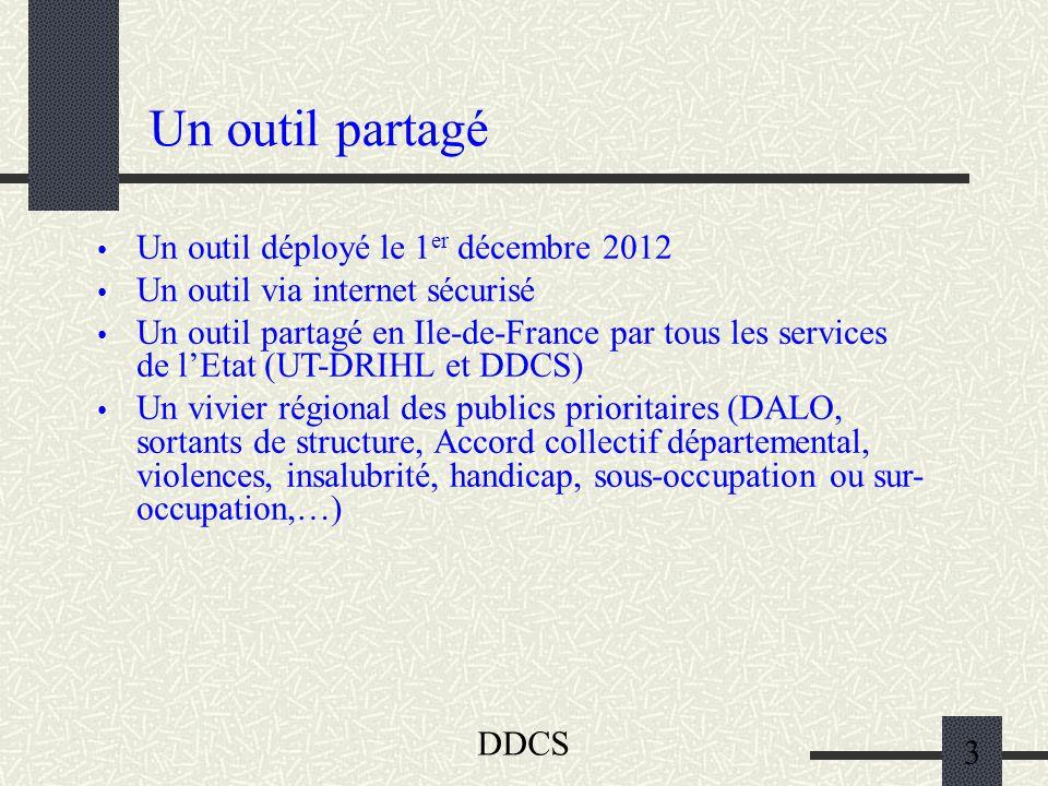DDCS 3 Un outil partagé Un outil déployé le 1 er décembre 2012 Un outil via internet sécurisé Un outil partagé en Ile-de-France par tous les services